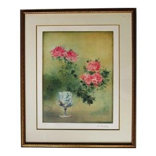 1970s Vintage Kaiko Moti Roses in Vase Etching Print For Sale