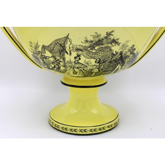 Vintage Large Italian Mottahedeh Yellow Handled Urn With Artichoke Lid For Sale - Image 6 of 13