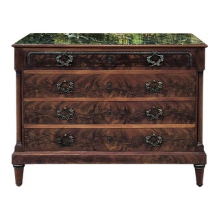 Antique French Neoclassical Mahogany Marble Top Commode For Sale