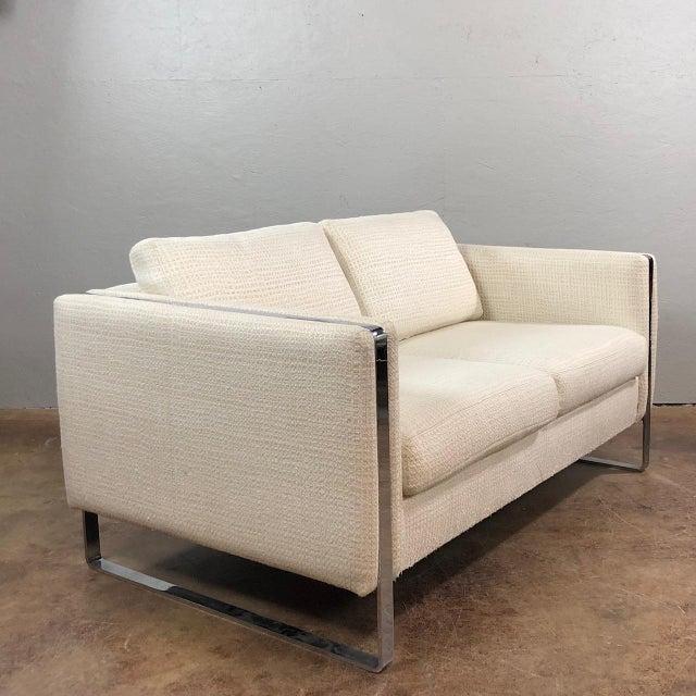 Mid Century Modern Chrome Framed Love Sofa by Milo Baughman. Original unaltered condition. Circa 1970's.