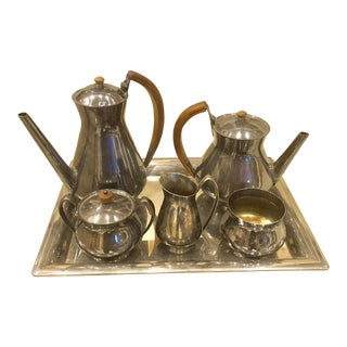 Gorhman Silver and Wood Handle Coffee Tea Service - Set of 6 For Sale