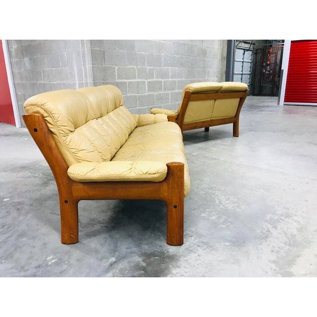 1970s Vintage Ekornes Stressless Montana Solid Teak Loveseat and Sofa - 2 Pieces For Sale - Image 11 of 13
