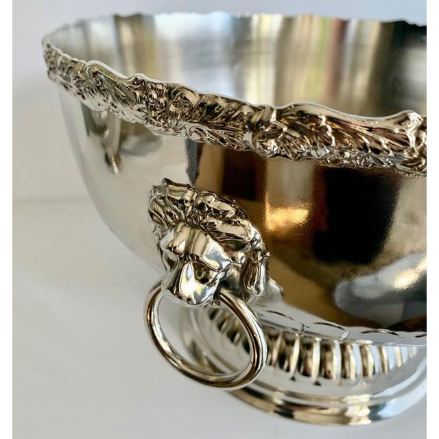 English Silver Punch Bowl With Rim and Lion Handle Details For Sale - Image 4 of 7