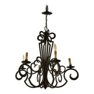 Gilded Wrought Iron Chandelier For Sale
