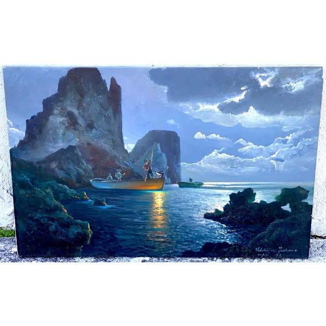 Evening Capri Seascape by Salvatore Federico, A large and rare work (evening scene) Signed 'Salvatore Federico Capri '72'...