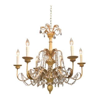 Italian Painted and Giltwood 6-Light Chandelier For Sale