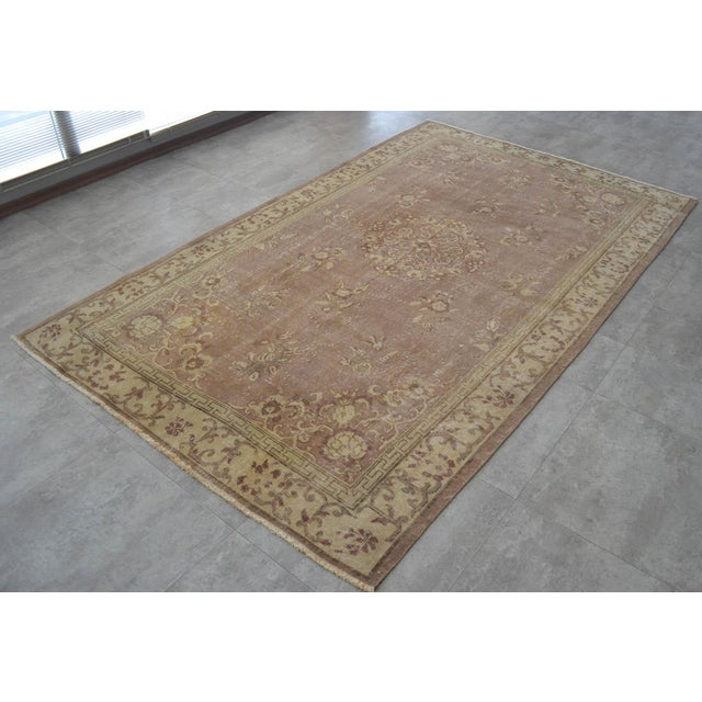 Turkish Vintage Turkish Hand Knotted Area Rug Distressed and Faded Colors - 5′1″ × 8′4″ For Sale - Image 3 of 9