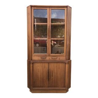 1960s Danish Modern Teak Corner Cabinet with Tambour Doors