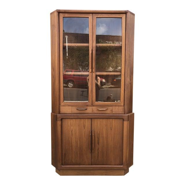 1960s Danish Modern Teak Corner Cabinet With Tambour Doors Chairish