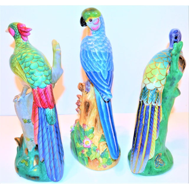Asian (Final Markdown) 1970s Vintage Majolica Parakeet & Pheonix Figurines - Set of 3 For Sale - Image 3 of 12