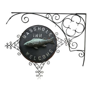 1920's Bass Hole Inn Wrought Iron Outdoor Sign For Sale