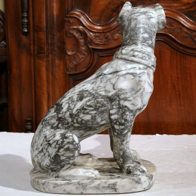 Marble 19th Century French Gray & White Marble Dog Figure For Sale - Image 7 of 10