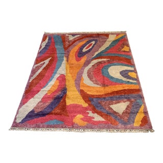 "Turkish Moroccan-Style Geometric Shag Rug - 7'7x10'6"" For Sale"