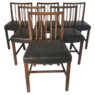1940s Vintage Danish Upholstered Leather Dining Chairs- Set of 6 For Sale