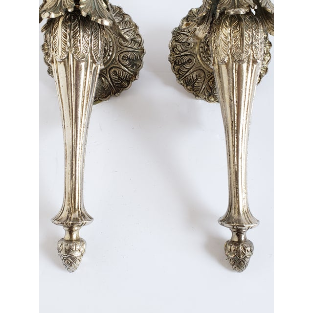 Hollywood Regency Vintage Spanish Brass and Glass Wall Sconces For Sale - Image 3 of 11