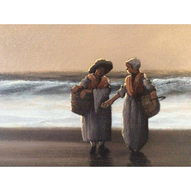 "Mid-Century Marteen ""Breton Fisher Folk"" French Oil Painting - Image 6 of 11"