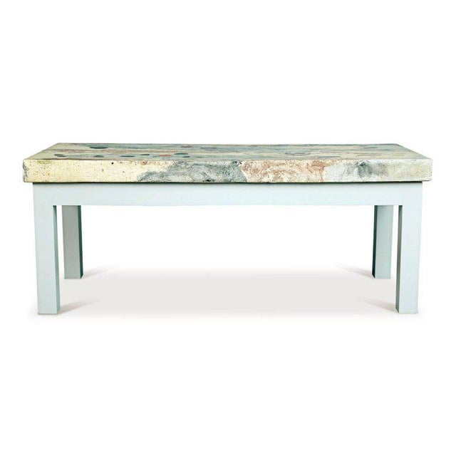 Uniquely crafted Italian coffee table or large side table, circa 1950. This eye-catching table features a beautiful cast...