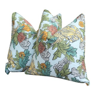 Ming Dragon Aquamarine Pillows - A Pair