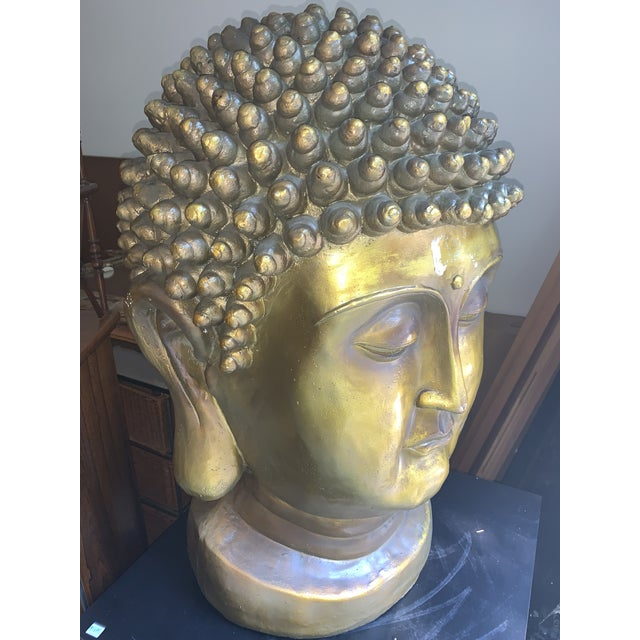 Great Buddha head. Composition. Gilded. Really heavy on plinth base. Continental.