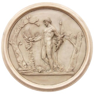 20th Century Classical Greek Nude Male Figure Architectural Roundel Sculpture For Sale