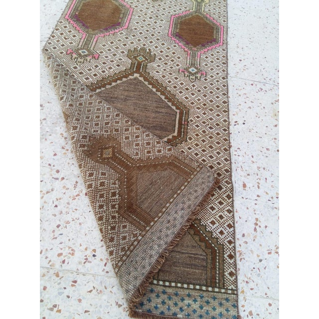 Boho Chic Antique Pink & Brown Caucasian Long Runner - 2′9″ × 12′1″ For Sale - Image 3 of 4