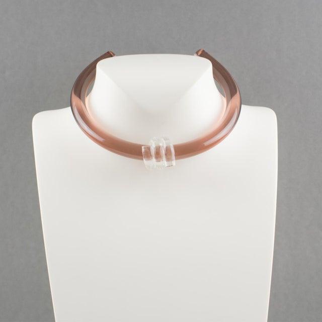 Elegant Italian artisan designer studio collar choker necklace. Rigid band Lucite shape in transparent dark copper pink...