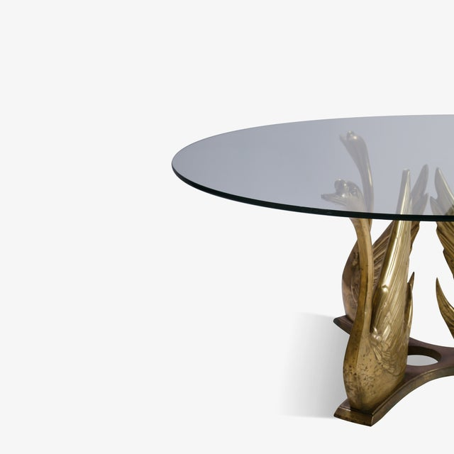 Mid-Century Modern French Brass Seated Swan Base Cocktail Table For Sale - Image 3 of 5