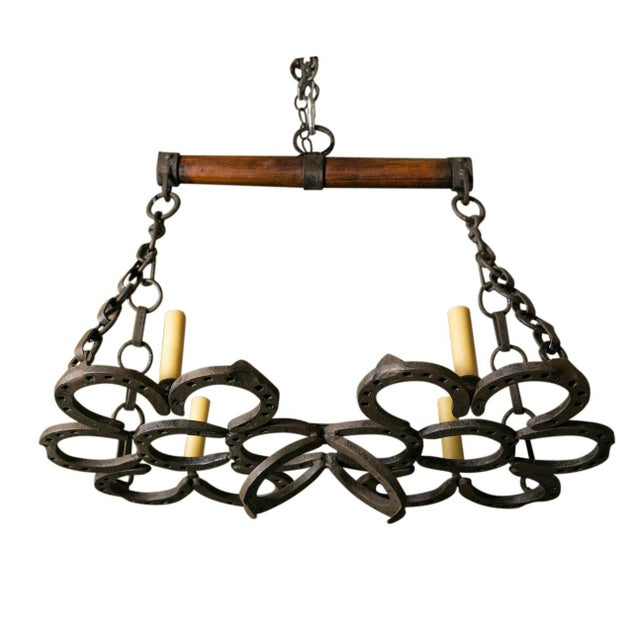 Lights Wrought Iron Horseshoe Chandelier For Sale - Image 7 of 7
