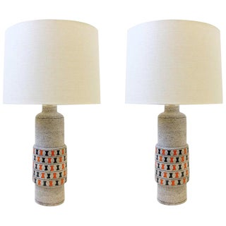 Italian Ceramic and Polish Brass Table Lamps by Bitossi - a Pair For Sale