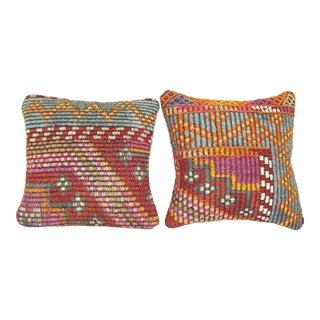 Set of Two Vintage Jajim Kilim Pillow Cover, Square Ethnic Cushion Decor 14'' X 14'' (35 X 35 Cm) For Sale