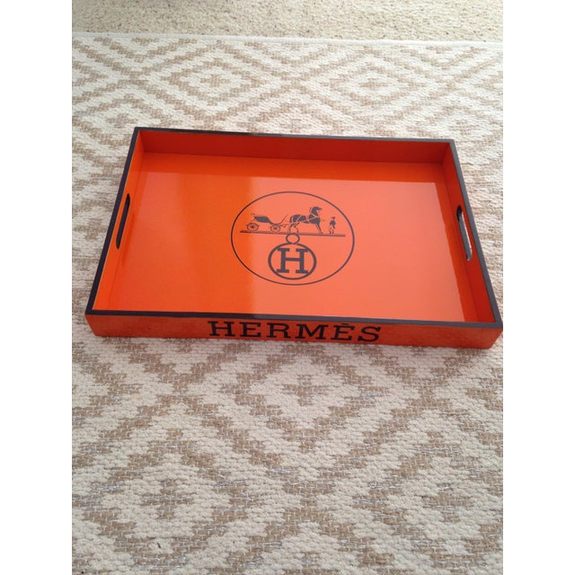 "Beautiful and functional Hermes vintage inspired 18""x14""x2"" orange and brown rectangle bar tray. Layers of gloss for..."