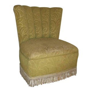 Original 1950's Green Frisse Fringed Slipper Chair