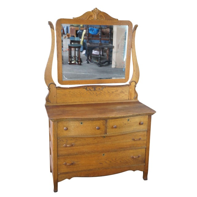 Late Victorian Antique Serpentine Oak Dresser & Carved Wishbone Mirror For Sale