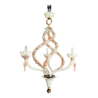Vintage Murano 3 Arm Chandelier With Pink and White Blown Glass For Sale