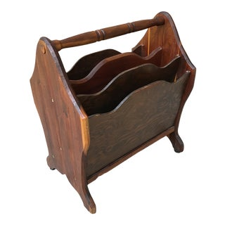 Vintage Hand Crafted Rustic Wooden Magazine Rack For Sale