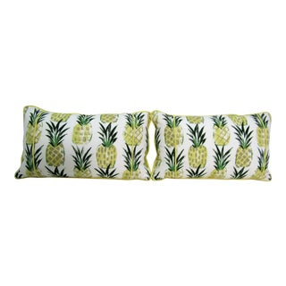 Pineapple Print Lumbar PIllows - a Pair For Sale