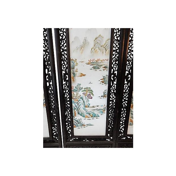 """Asian lG Chinoiserie Porcelain Panels - Set of Four 67.5"""" H For Sale - Image 3 of 9"""