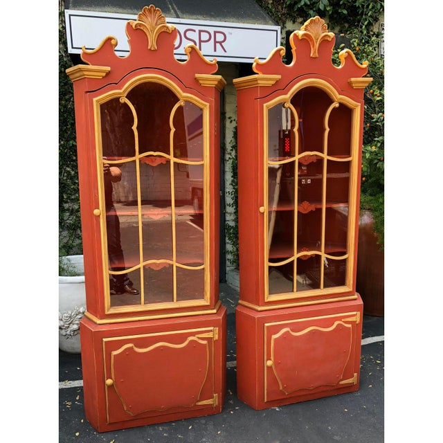 Pair Red & Gold Hollywood Regency Corner Cabinets . Unusual pair with Dorothy Draper and Billy Haines elements. Unusual...