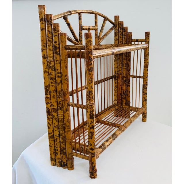 Vintage antique ca 1910s / 1920s English Tortoise Shell Burnt Tiger Bamboo Shelf. Can be used as a wall or standing shelf,...