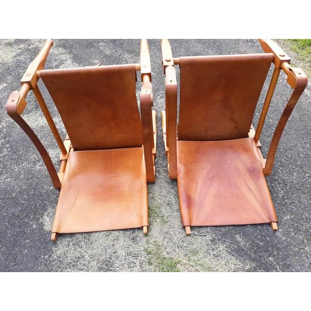 Vintage Mid Century Wilhelm Kienzle for Wohnbedarf Style Safari Chairs- a Pair For Sale - Image 6 of 11