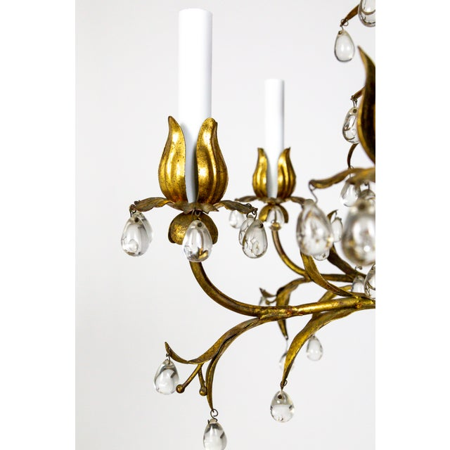 Mid 20th Century Palm Beach Style Gilt Leaves and Grape Crystal Chandelier For Sale - Image 5 of 13