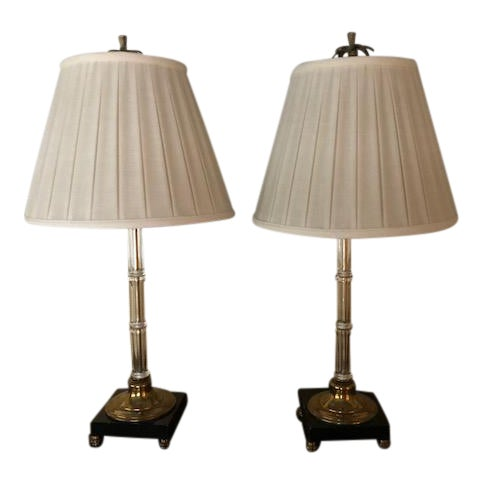 0c461297e3cc Palm Beach Regency Glass   Brass Table Lamps - A Pair For Sale