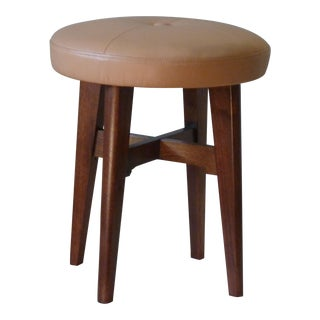 Modern Walnut Vanity Stool