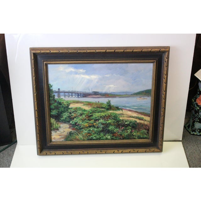 Foster Caddell breathtaking oil on canvas of the beach and bridge in Martha's Vineyard.