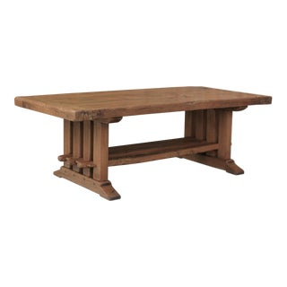 Antique Oak Mission Arts & Crafts Rustic Coffee Table For Sale