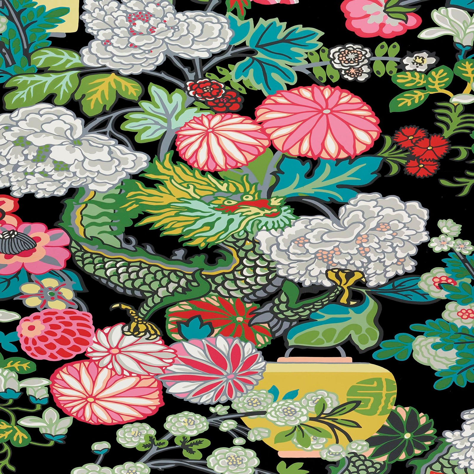 Sample Schumacher Chiang Mai Dragon Wallpaper In Ebony Chairish