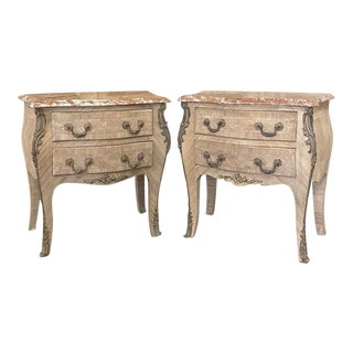 Pair Antique French Louis XV Marble Top Marquetry Commodes For Sale