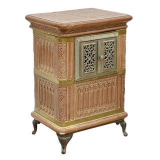 19th Century French Sarreguemines Ceramic Tile Heating Stove For Sale