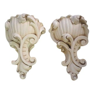 Large French 1940's Serge Roche Inspired Plaster Sconces-A Pair For Sale