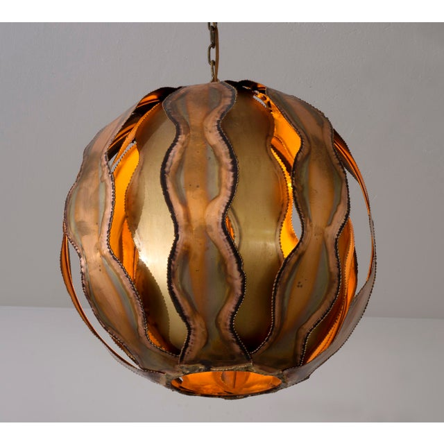 Torch Cut Brutalist Pendant in Brass by Tom Greene, 1960s For Sale - Image 10 of 10